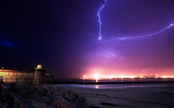 Wallpaper Lightning, coast, sea, night