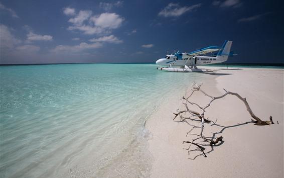 배경 화면 몰디브, 비행기, 해변, 바다
