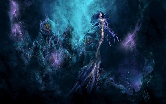 Wallpaper Mermaid, fantasy girl, underwater, art picture