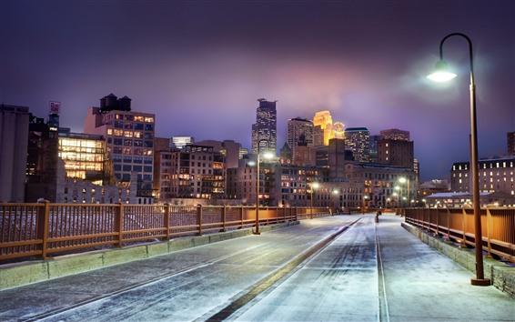 Wallpaper Minnesota, city at night, road, lights, snow, winter, USA