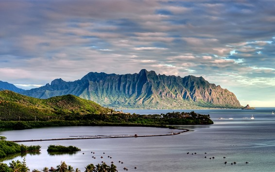 Wallpaper Mountains, coast, sea, boats, sky, clouds