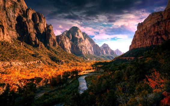 Fond d'écran Montagnes, vallée, nuages, plantes