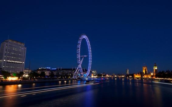 壁纸 夜,河,摩天轮,灯,英格兰,伦敦