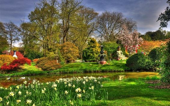 배경 화면 공원, 불상, 나무, 꽃, 연못