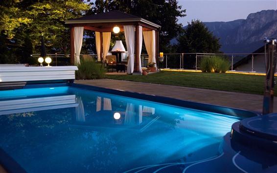 壁紙 プール、リゾート、小屋、ライト、夜