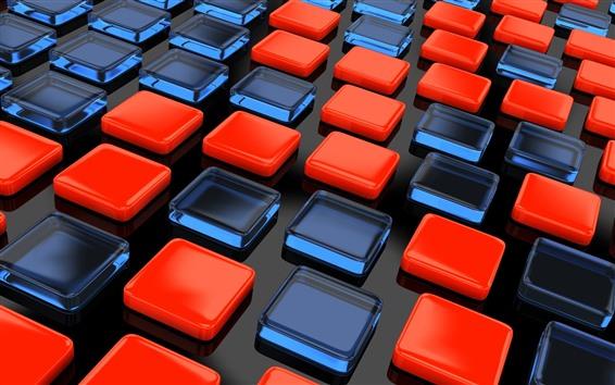 壁紙 赤と青の立方体、3D画像