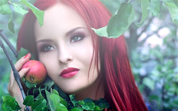 Hintergrundbilder Mädchen mit roten Haaren, Apfel, Gesicht