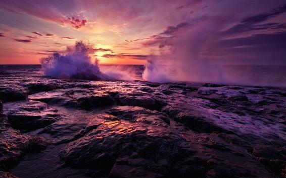 壁紙 海、夕日、水のしぶき、岩