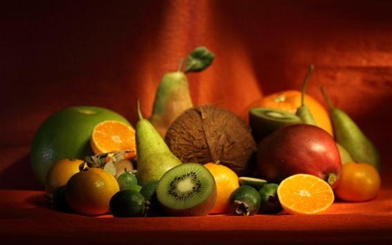 Fond d'écran Quelques fruits, kiwi, orange, poire, nature morte