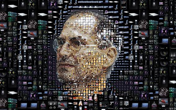 Обои Стив Джобс, лицо, креативная фотография