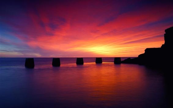 壁紙 夕日、海、赤い空、シルエット