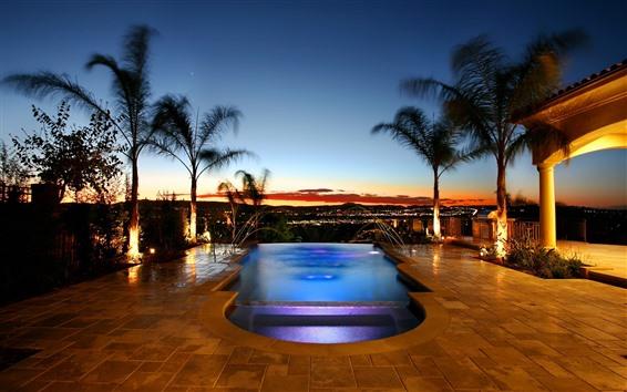 Wallpaper Swimming pool, palm trees, night, resort