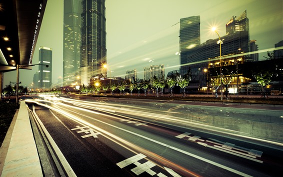 Wallpaper Taiwan, city, night, road, lights, skyscrapers