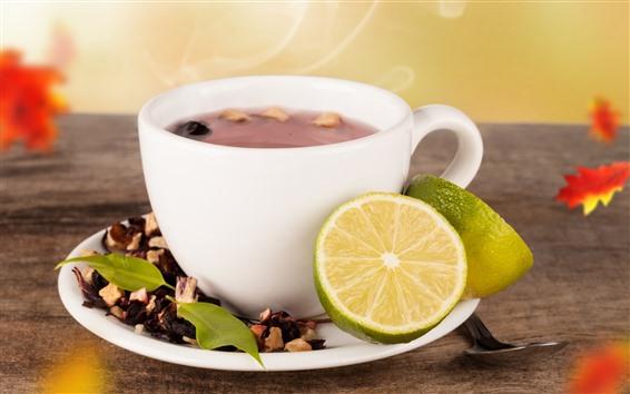 Wallpaper Tea and lemon, drinks