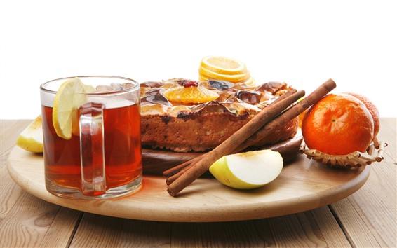 Wallpaper Tea, cake, oranges, food, lemon