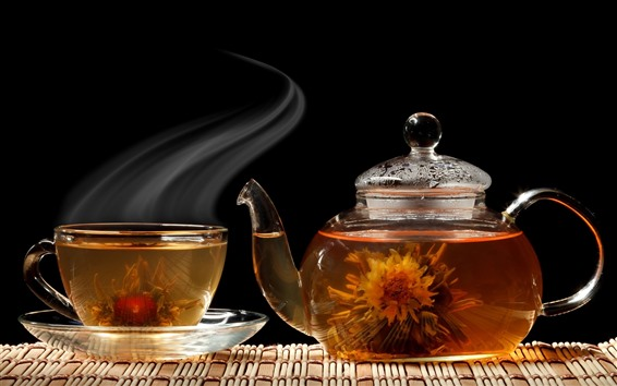 Papéis de Parede Chá, chaleira, copo, vapor