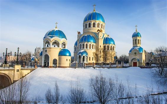 Fondos de pantalla Templo, nieve, invierno, árboles