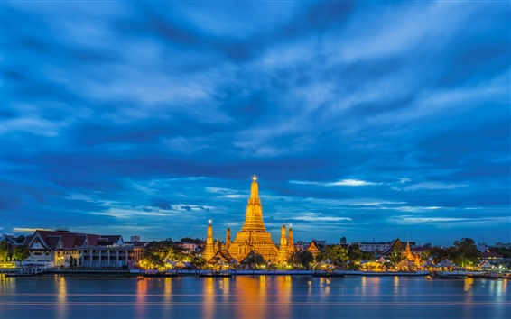 Wallpaper Thailand, lake, temple, lights, city, night