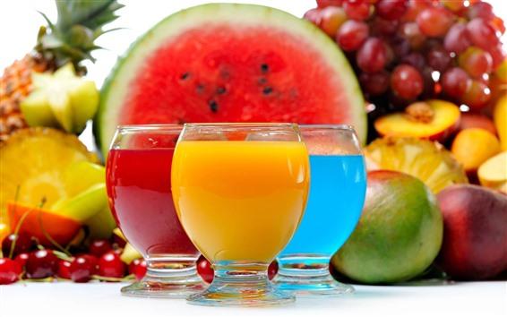 Papéis de Parede Três xícaras de drinks, colorido, melancia
