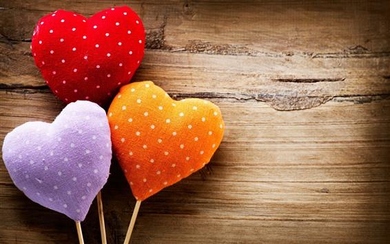 Fondos de pantalla Tres corazones de amor, colorido, ilustraciones