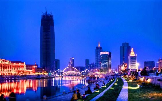 Fondos de pantalla Tianjin, río, rascacielos, luces, noche, China