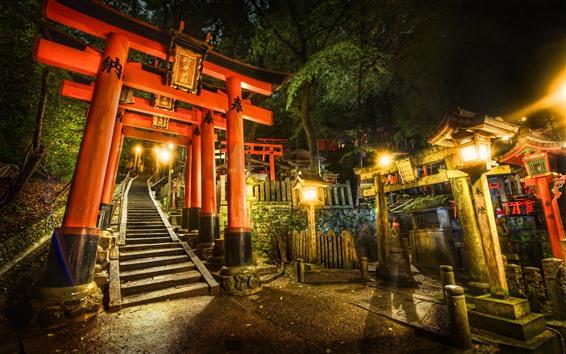 Wallpaper Torii gate, shrine, Japan, lights, night