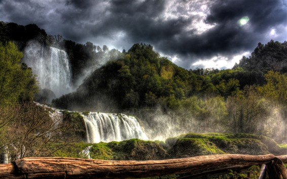 Wallpaper Trees, waterfalls, clouds, nature landscape