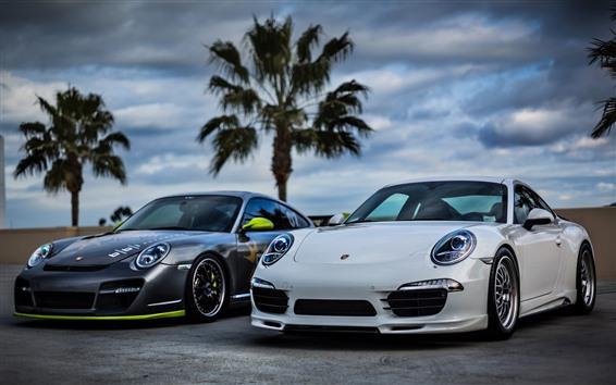 Fond d'écran Deux voitures Porsche