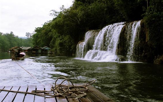 Wallpaper Waterfalls, river, rope, boat