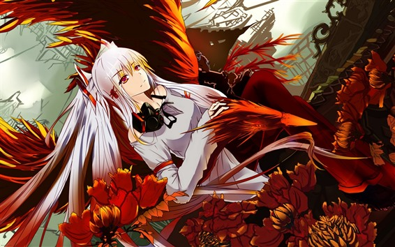 Wallpaper White hair anime girl, flowers