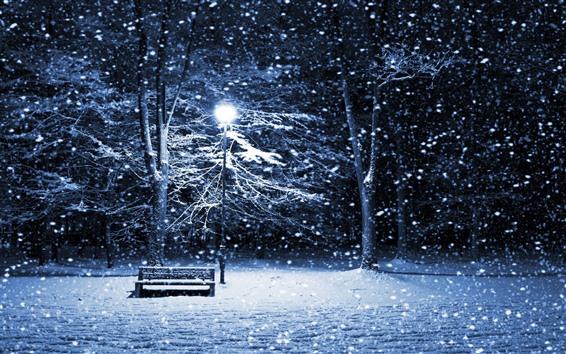 Wallpaper Winter, snow, night, bench, trees, lights