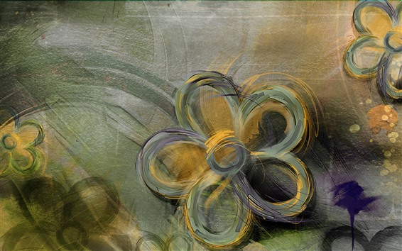 Wallpaper Abstract flowers, art painting
