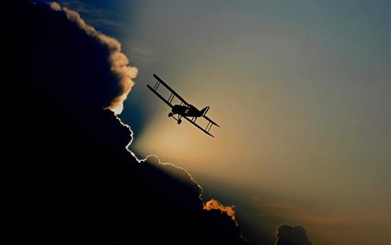 Fond d'écran Avion, silhouette, vol, ciel, nuages
