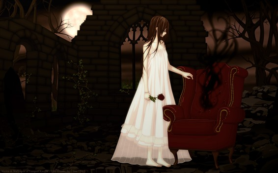 Wallpaper Anime girl, vampire, sofa, rose