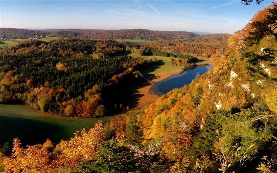 Hintergrundbilder Herbst, Bäume, See, Berggipfelansicht, blauer Himmel