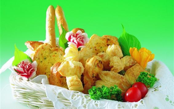Обои Корзина, хлеб, цветы