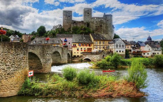 Wallpaper Beautiful city, Runkel, Germany, castle, river, bridge