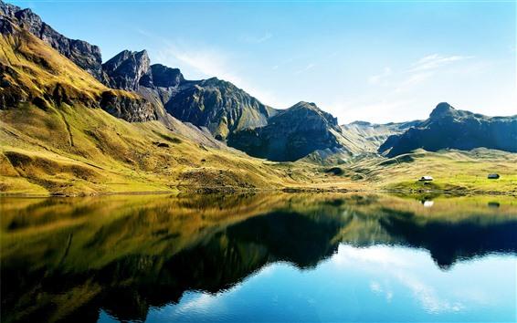 Wallpaper Beautiful nature landscape, mountains, green, lake, water reflection