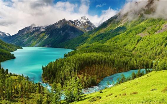 Обои Красивый природный пейзаж, склон, горы, деревья, озеро
