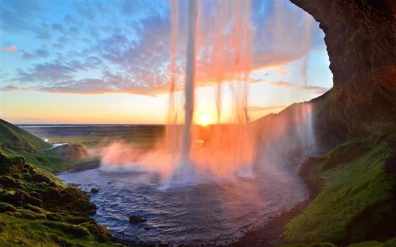 壁紙 美しい滝、太陽の光、まぶしさ、霧