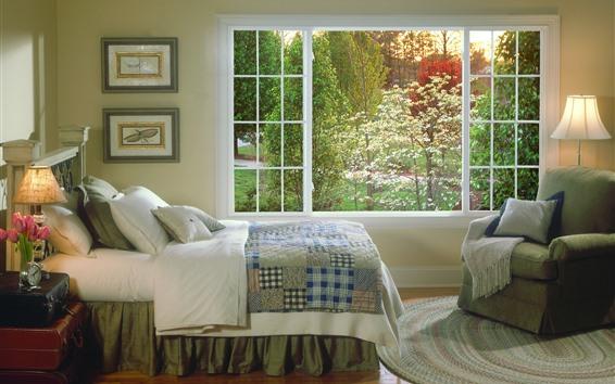Papéis de Parede Quarto, cama, luzes, janela, interior
