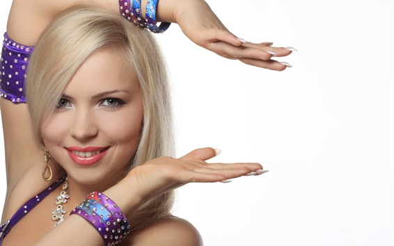 Wallpaper Blonde girl, hands, pose, white background