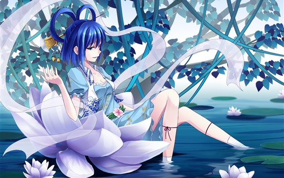 Wallpaper Blue hair anime girl, pond, water lily, flowers