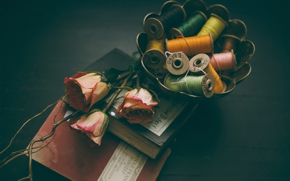 Wallpaper Books, pink roses, thread