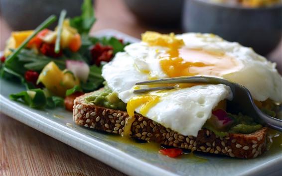Papéis de Parede Café da manhã, ovo frito, pão, garfo
