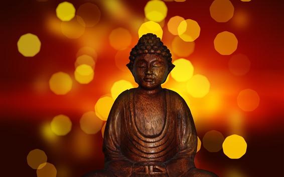 Обои Статуя Будды, световые круги