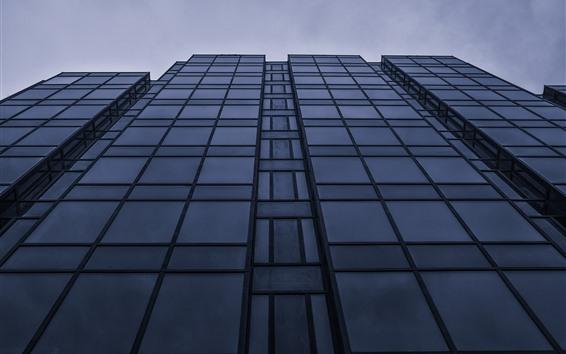 Wallpaper Buildings, glass windows, dusk