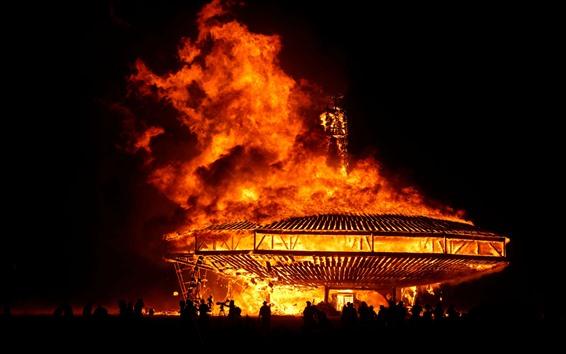 壁紙 燃える、炎、建物、夜、闇