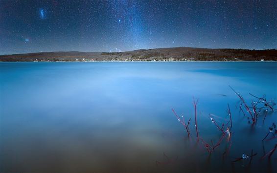 Fond d'écran Canada, Québec, lac, ciel, étoilé, étoiles