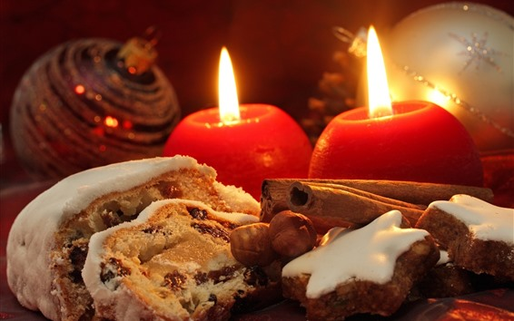 Wallpaper Candles, flame, cookies, bread, Christmas